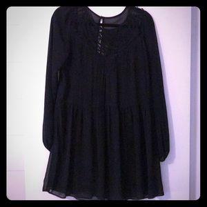 Black loose boho style sheer dress